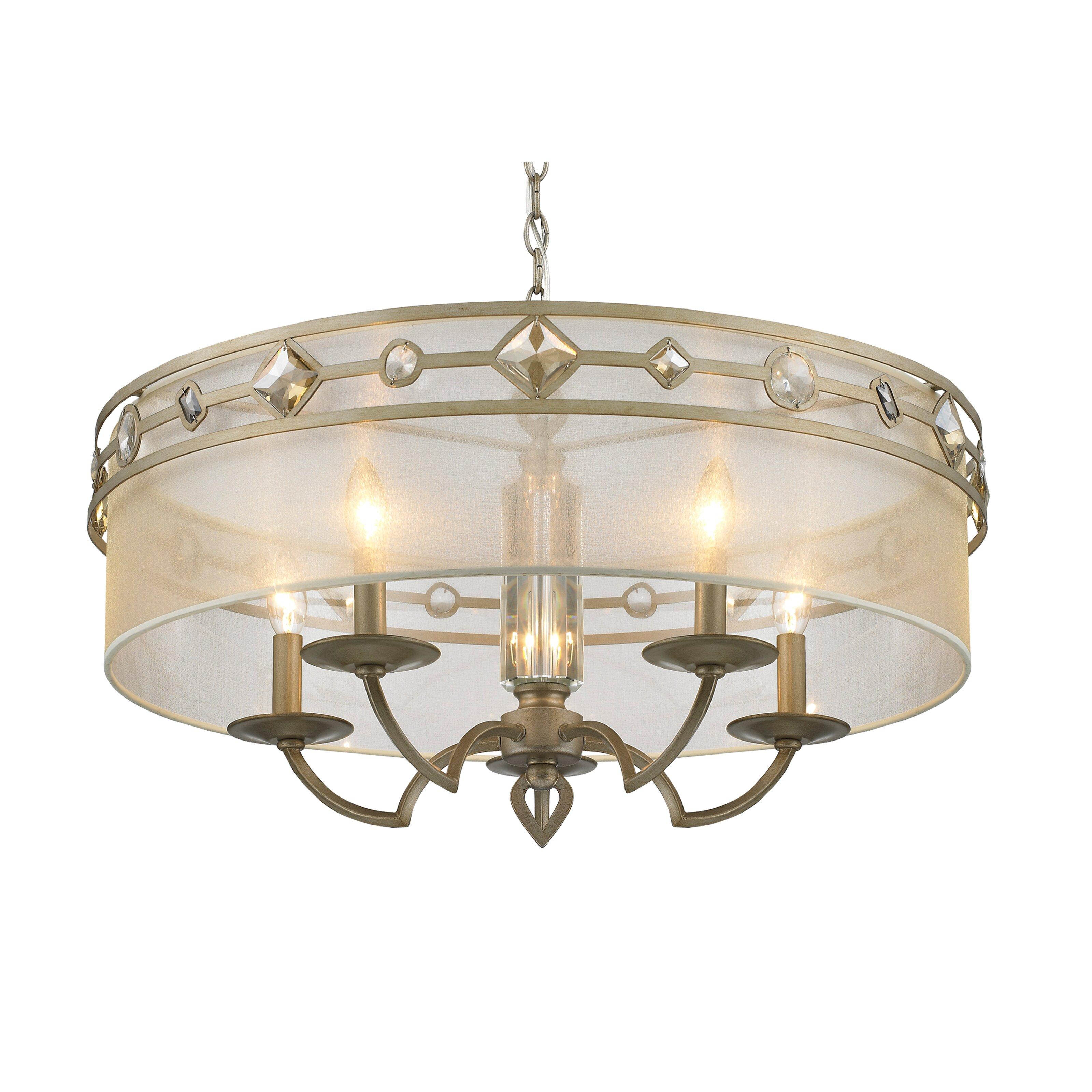 Golden Lighting Coronada Five Light Drum Chandelier Reviews Wayfair