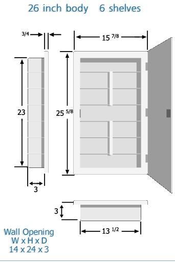Spacecab altair 16 x 26 recessed beveled edge medicine for Zaca bathroom cabinets