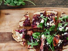 Caramelized Onion, Feta, and Ham Flatbread
