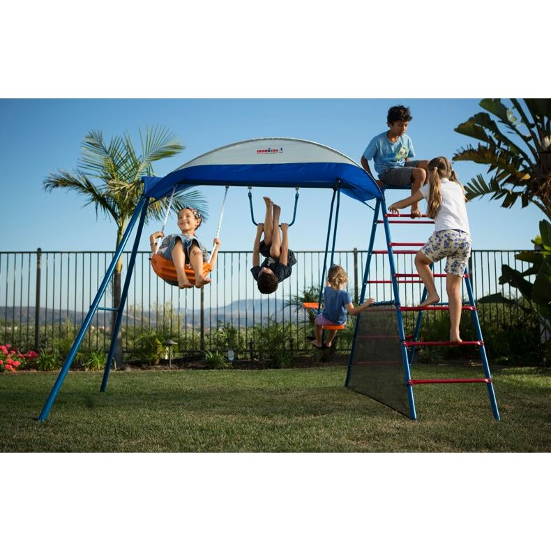 IronKids Challenge 100 Metal Swing Set with Ladder Climber and UV ...