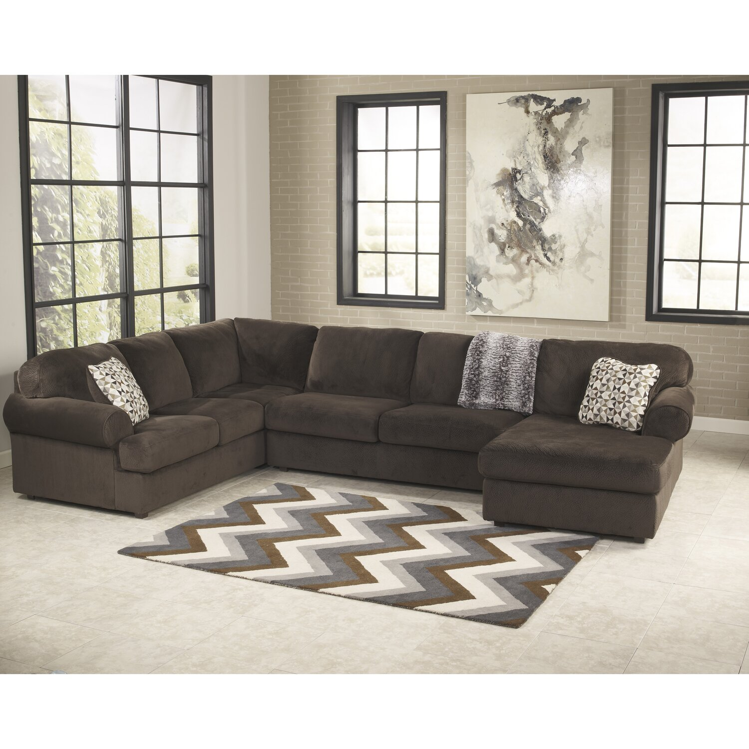 Jessa Place Sectional Sofa by Flash Furniture, Chocolate Fabric
