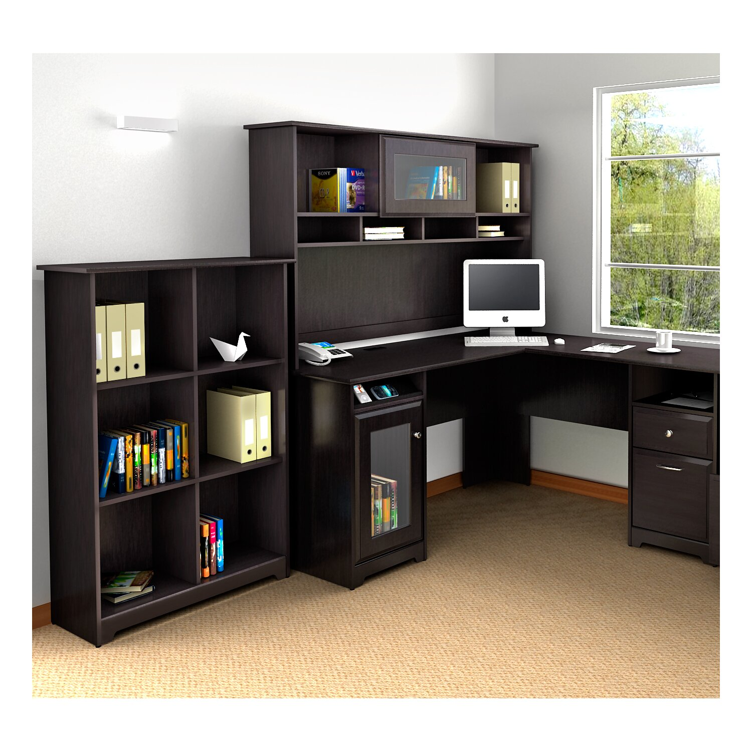 Shaped Desk With Hutch Desk Set With Hutch