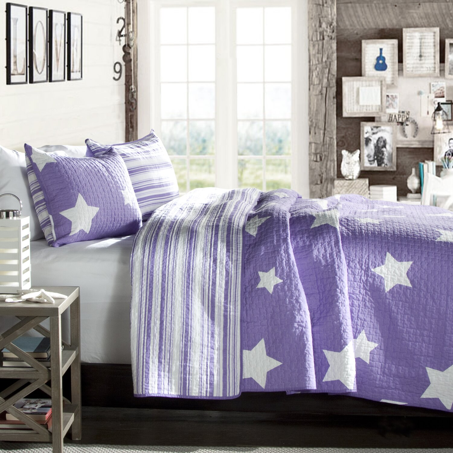 Purple and White Reversible Star Print Coverlet - Purple ...