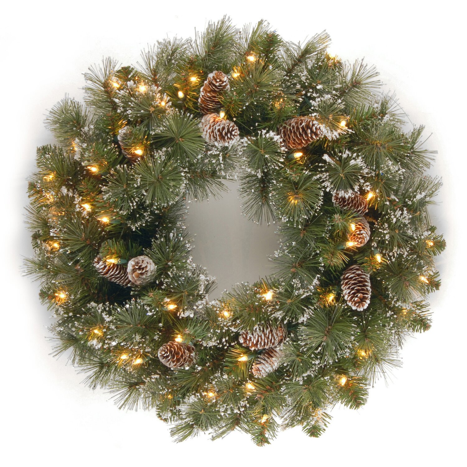 Indoor Outdoor Glittery Bristle Pine Lighted Wreath Snow Frosting