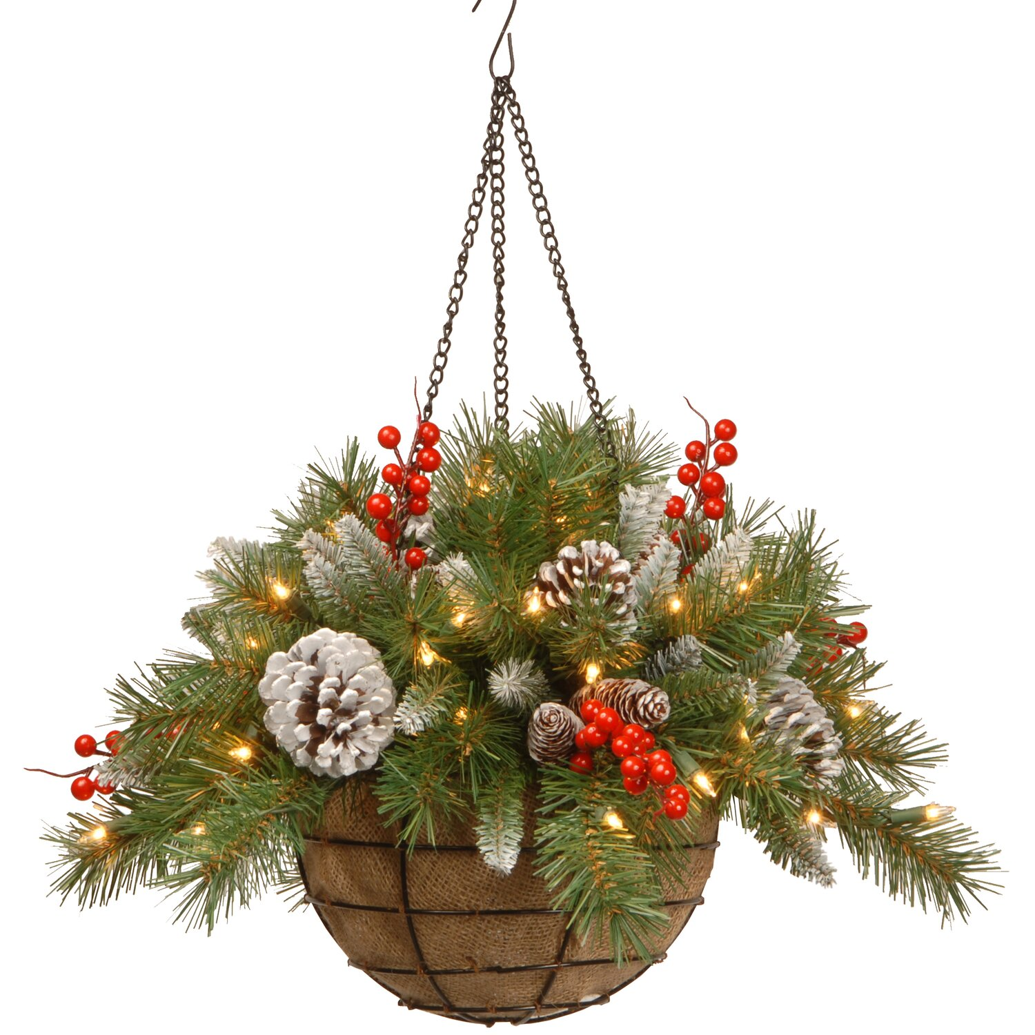 Frosted Berry Pre-Lit Hanging Basket