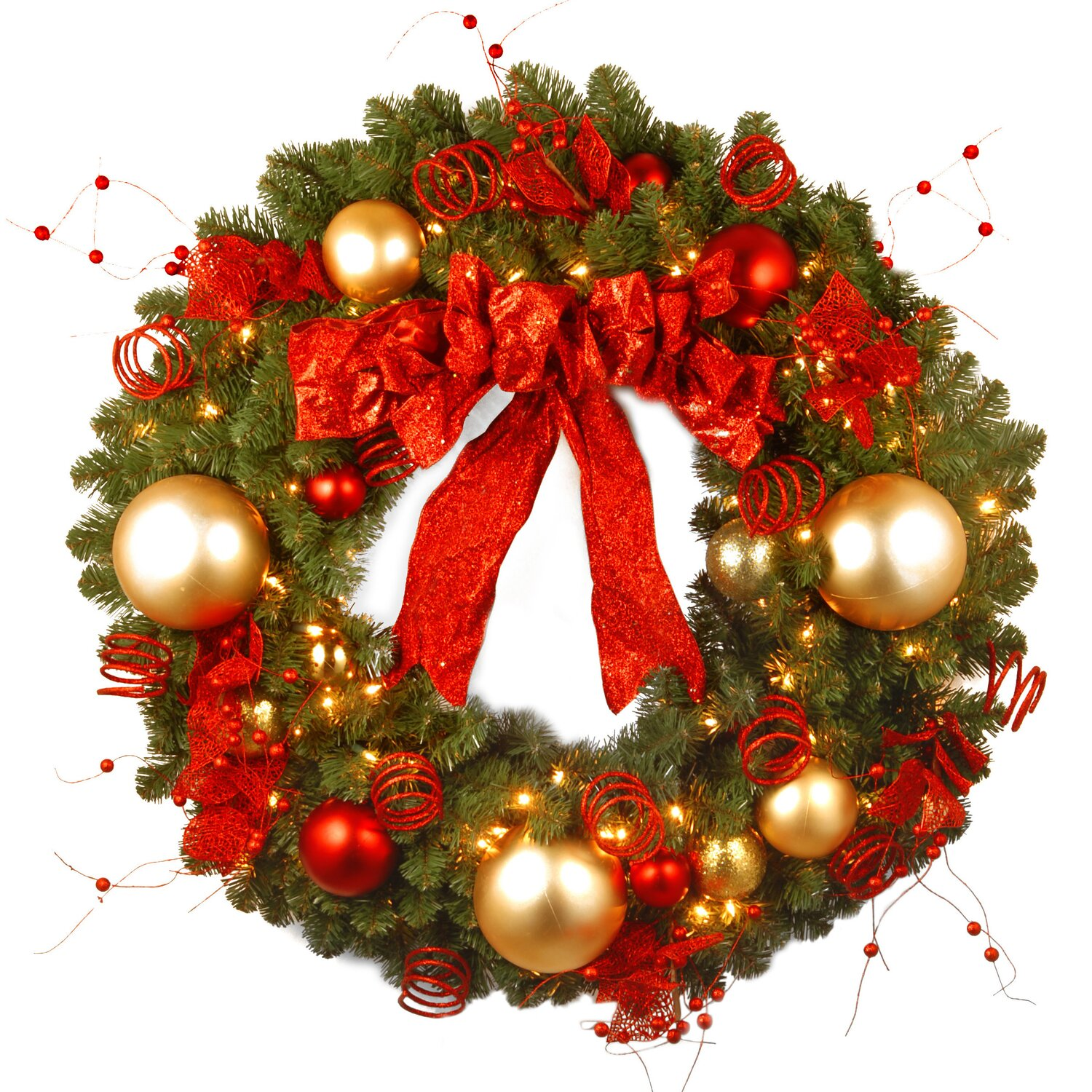 Pre-Lit Cozy Christmas Wreath Red and Gold Ornaments, Red Bow, Red and Clear Lights