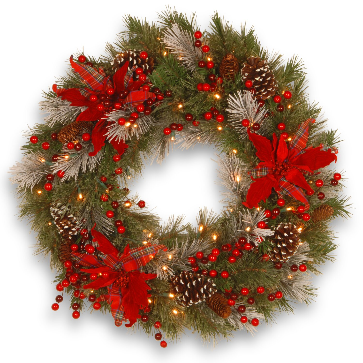 Decorative Pre-Lit Tartan Plaid Wreath with 50 Battery-Operated White LED Lights