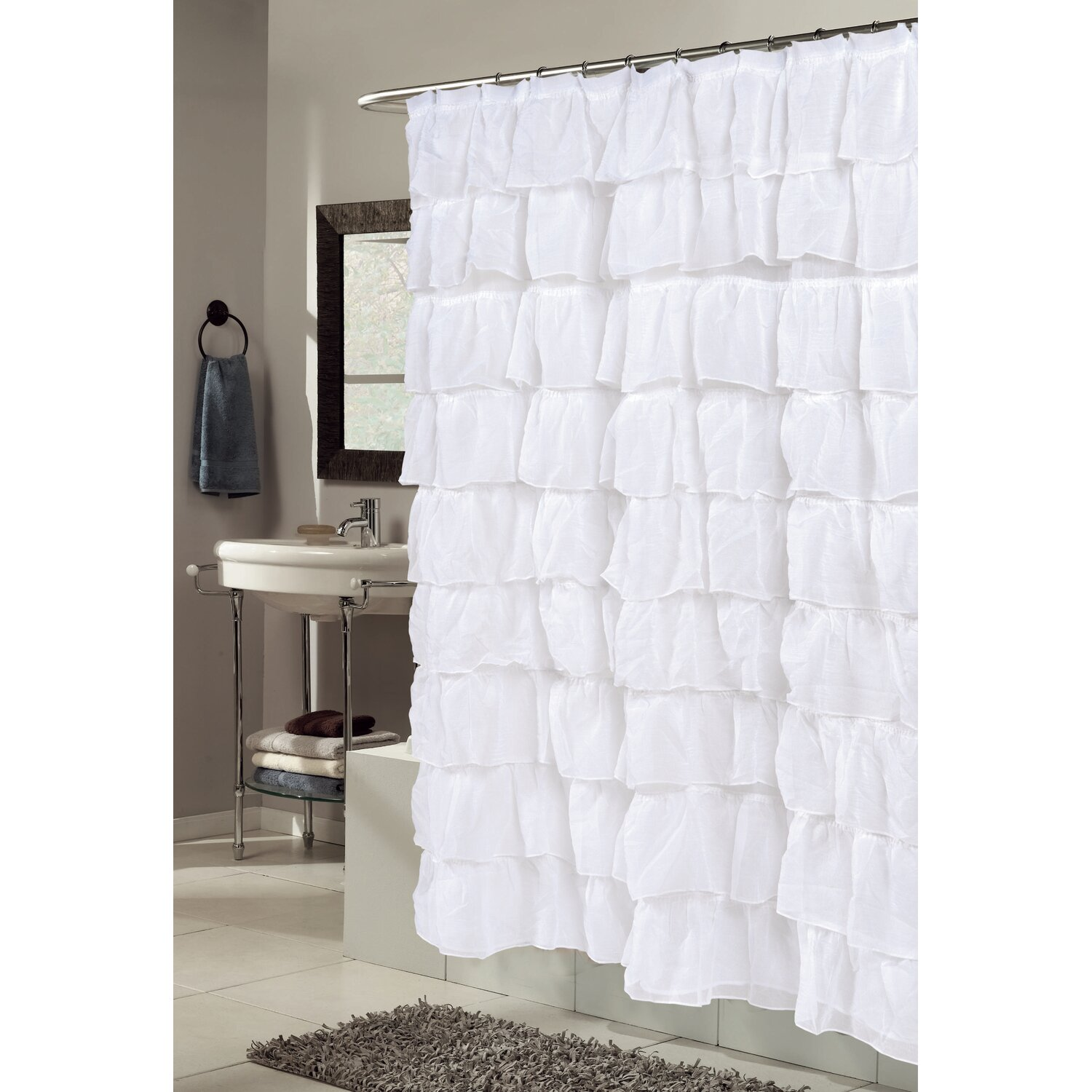 Carnation Home Fashions Fabric Shower Curtain Carnation Home Fashions Carmen