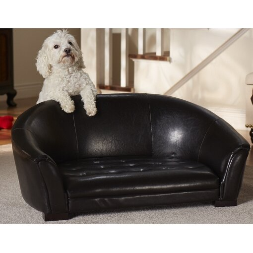 The Easy Clean Artemis Dog Sofa Black Leather For Small Dogs upto 35lbs
