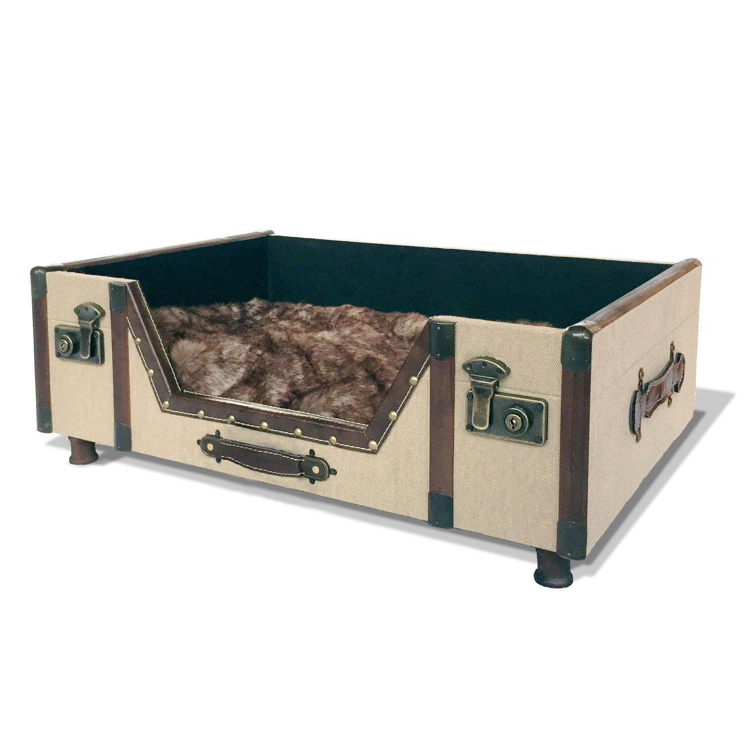 Carlisle Trunk Bed with Faux Fur Cushion by Bombay