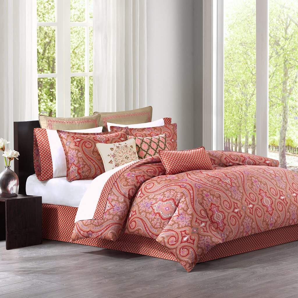 orange and red bedding