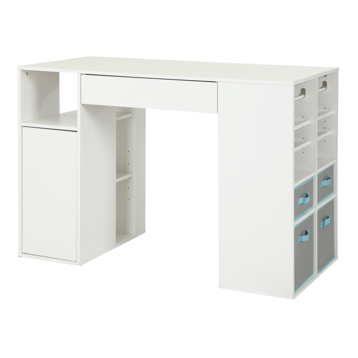 a white desk with bins on the side to hold your crafting supplies