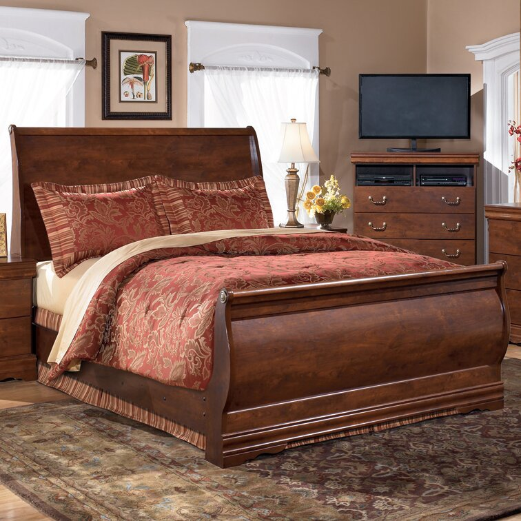 queen sleigh bed antique style wooden frame headboard