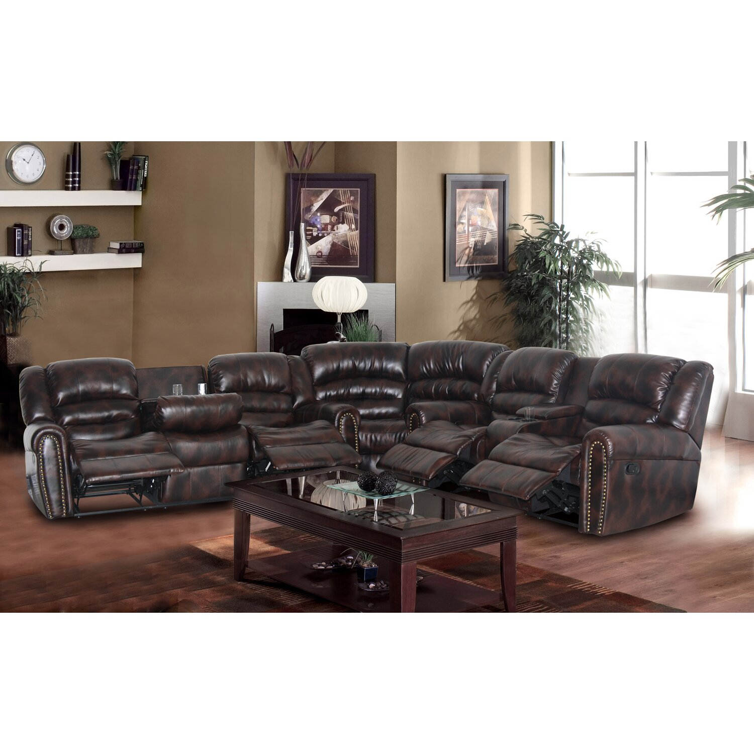 Sophy 3 Piece Brown Bonded Leather Reclining Living Room Sectional Sofa Set Gs4000 1500