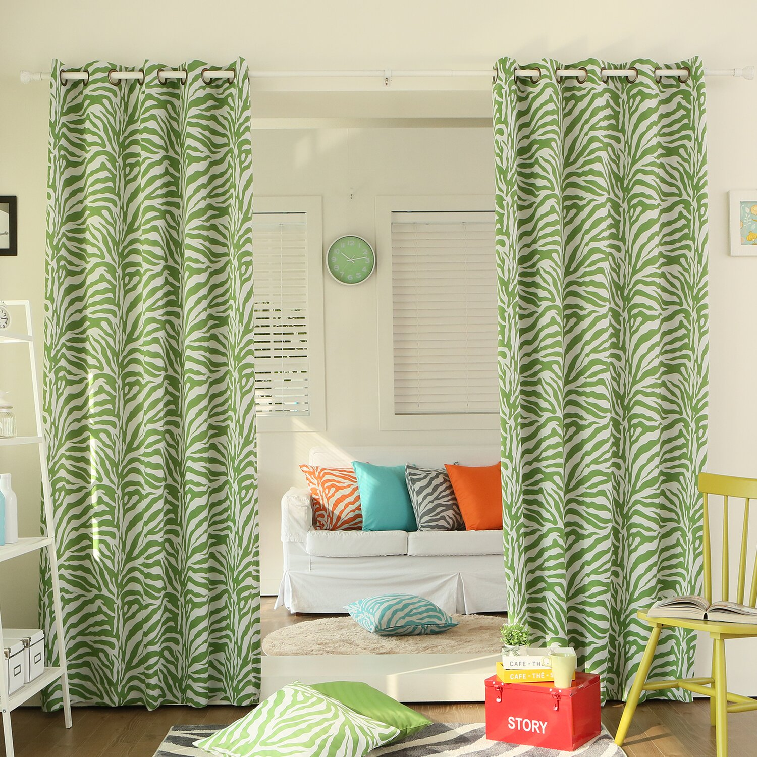 Lime green zebra bedding for Lime green curtains for bedroom