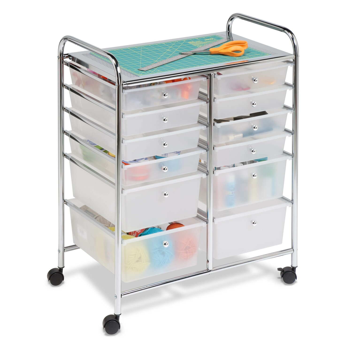 a rolling cart full of drawers to hold your crafting supplies