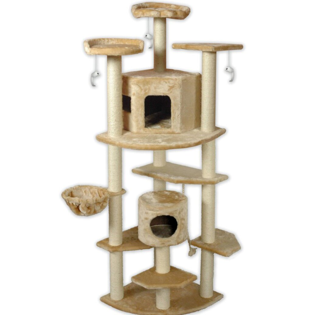 go pet club  beige cat tree house f new  ebay - httpssecureimgwfrcdncomlf