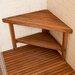Teakworks4u Deluxe Teak Corner Shower Bench with Optional Shelf