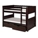 Low Bunk Bed with Drawers and Panel Headboard