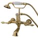 Elements of Design Hot Springs Double Handle Wall Mount Clawfoot Tub Faucet with Hand Shower
