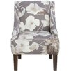 Skyline Furniture Swoop Cotton Upholstered Arm Chair in Grey & White