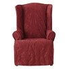 Sure-Fit Matelasse Damask Wing Chair Slipcover