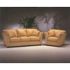 Omnia Furniture Manhattan 3 Seat Leather Living Room Set