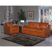 Omnia Furniture Chelsea Deco 3 Seat Leather Sofa Set