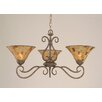 Toltec Lighting Olde Iron 3 Light  Chandelier with Pen Shell Shade