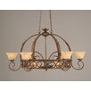 Toltec Lighting Leaf 8 Light Chandelier Pot Rack with Italian Marble Glass Shade