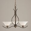 Toltec Lighting Swoop 3 Up Light Chandelier with Bubble Glass Shade
