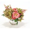 Distinctive Designs Waterlook Hydrangeas and Roses in Mercury Glass