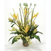 Distinctive Designs Waterlook® Silk Orchids, Protea, Heliconia and Bamboo in Rimmed Vase