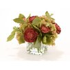 Distinctive Designs Waterlook® Silk Hydrangeas with Dried Roses and Bay Leaves in Glass Square