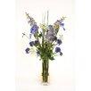 Distinctive Designs Waterlook® Mix of Silk DelphIniums, Iris and Wildflowers in Glass Vase