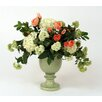 Distinctive Designs Silk Hydrangeas, Snowballs and Poppies in Crackle Urn