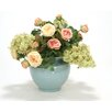 Distinctive Designs Rose Hydrangea and Hedera Ivy in Crackle Vase