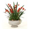 Distinctive Designs Silk Cymbidium Orchids with Blades and Succulents in Oval Torino Planter