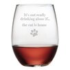 Susquehanna Glass The Cat is Home 19 Oz. Stemless Wine Glass