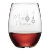 Susquehanna Glass Merry Christmas Ornaments Stemless Wine Glass (Set of 4)
