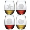 Susquehanna Glass Seashore Stemless Wine Glass (Set of 4)