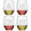 Susquehanna Glass 4 Piece Canine Carols Stemless Wine Glass Set