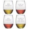 Susquehanna Glass Naughty Christmas Stemless Wine Glass (Set of 4)