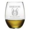 Susquehanna Glass Beware of Dog Stemless Wine Glass (Set of 4)
