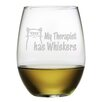 Susquehanna Glass My Therapist Has Whiskers Stemless Wine Glass (Set of 4)