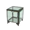 "BIDKhome Fall 5.3"" Iron and Glass Square Jewelry Box"