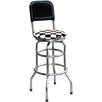 "On The Edge Marketing Checker Flag 30.5"" Swivel Bar Stool with Cushion"