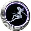 """On The Edge Marketing Lady Silhouette 14.75"""" Neon Wall Clock"""
