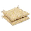 Pillow Perfect Snow Leopard Sunburst Outdoor Wrought Iron Seat Cushion (Set of 2)
