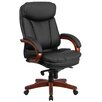 Flash Furniture High Back Leather Executive Swivel Chair with Synchro-Tilt Mechanism and Mahogany Wood Base